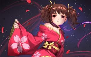 Картинка ночь, лепестки, девочка, кимоно, бант, красные глаза, хвостики, Kabaneri of the Iron Fortress, Koutetsujou no …
