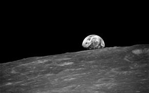 Картинка космос, луна, земля из космоса