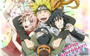Картинка аниме, Сакура, арт, Саске, Наруто, Naruto, команда 7, Какаши