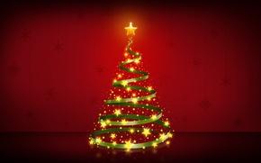 Картинка звезды, красный, фон, елка, Новый Год