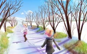 Обои снег, вокалоид, зима, рин, лен, аниме, настроение, аллея