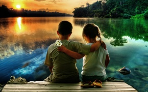 Картинка закат, дети, озеро