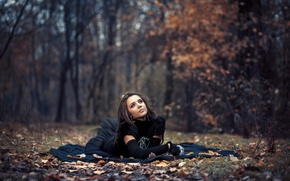 Картинка боке, платье, девушка, осень, лес, листья