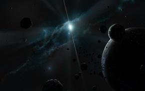 Обои планеты, свет, звезды, туманность, астероиды