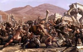 Картинка кровь, монстры, руины, сражение, Арт, воины, амазонки