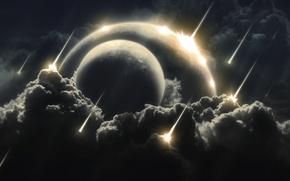 Обои вспышки, планеты, простанство, метеоритный, космическое, дождь