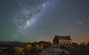 Картинка звезды, гора, лестница, церковь, Млечный Путь, тайны