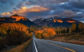 Картинка дорога, закат, горы