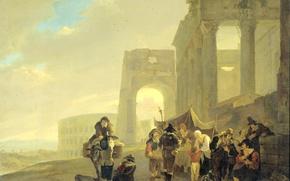 Картинка пейзаж, люди, картина, Ян Бот, Народная Сцена у Римских Руин
