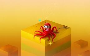 Картинка желтый, кубы, осьминог, джойстик