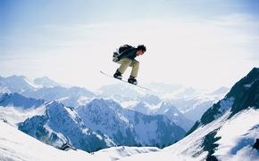 Картинка снег, сноуборд, гора, snow, man, Snowboard