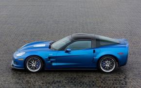 Обои синий, corvette, zr1