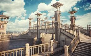 Картинка облака, мост, город, река, забор, фонари, канал, лестницы, рендер