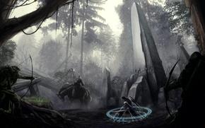 Картинка лес, оружие, магия, меч, лук, арт, маг, всадник, колонна, обелиск, okita, лучники, пленник