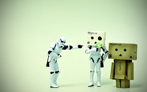 Обои макро, штурмовики, ситуация, коробочка, звездные войны, человечек, danbo, фигурки, лего