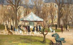 Картинка парк, картина, скамья, городской пейзаж, Марсель Диф, Карусель в саду на Елисейских Полях