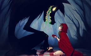 Обои девочка, Красная шапочка, плащ, волк. сердце, лес, Red riding hood