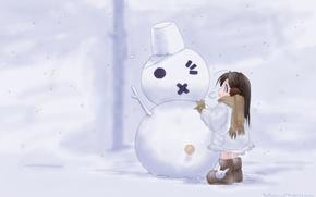 Картинка снег, девочка, снеговик