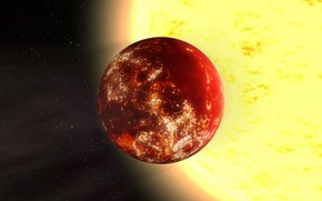 Картинка звезды, экзопланета, расположенная, суперземля, солнцеподобной, 55 Рака A, системе, в планетной