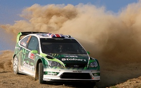 Картинка Ford, Авто, Пыль, Спорт, Машина, Поворот, Гонка, Капот, Занос, Focus, WRC, Rally, Ралли, Чемпионат, Передок
