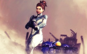 Картинка Terran, StarCraft 2, Sarah Kerrigan, human, Powered Combat Suit
