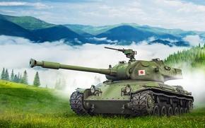 Обои склон, арт, японский, туман, горы, STA-2, средний, деревья, World of Tanks, танк, лес, облака, трава, ...