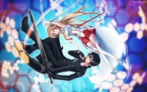 Обои девушка, радость, оружие, настроение, меч, парень, art, sword art online, yuuki asuna, kirito, rihiten breaker, ...
