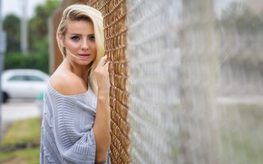 Картинка взгляд, девушка, забор, блондинка
