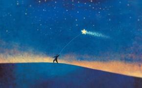 Картинка звезда, человек, минимализм, синий фон