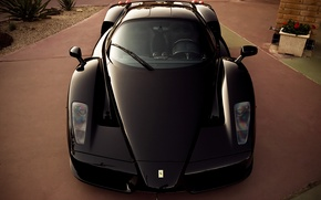 Картинка черный, Ferrari, суперкар, supercar, феррари, black, enzo, front, энзо