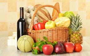 Картинка перец, бутылка, овощи, вино, красное, капуста, яйца, сыр, хлеб, фрукты, ананас, корзина, яблоки, лук