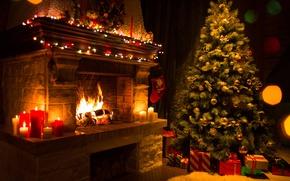 Картинка огонь, елка, свечи, Рождество, подарки, Новый год, плямя, ёлка, камин, гирлянды