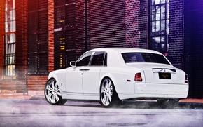 Обои белый, улица, Phantom, white, Rolls Royce, вид сзади, street, Фантом, Роллс Ройс