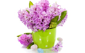 Картинка яйца, букет, flowers, spring, easter, гиацинты, lilac