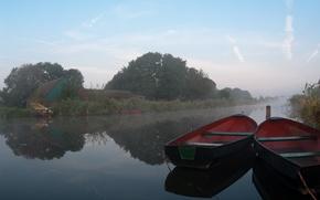 Обои туман, Лодки, река