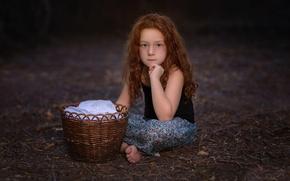 Картинка девочка, веснушки, корзинка, Anna, Studio Hors-champ