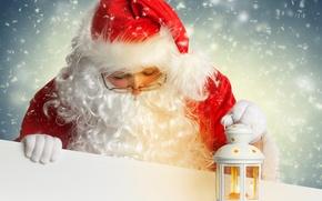 Картинка фонарь, Санта Клаус, Дед Мороз