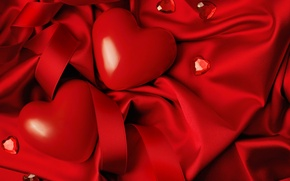 Обои любовь, сердце, red, love, heart, romantic, silk, Valentine's Day