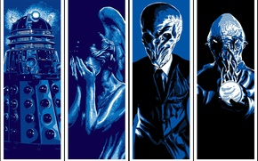 Картинка фантастика, коллаж, шар, арт, монстры, костюм, Тишина, статуя, сфера, пришельцы, Doctor Who, Silence, инопланетяне, Доктор …