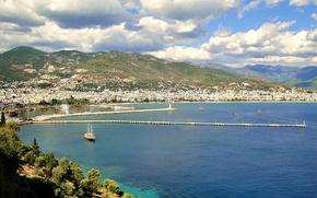 Картинка море, небо, горы, Италия, городок