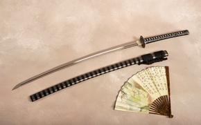 Обои веер, катана, меч, ножны