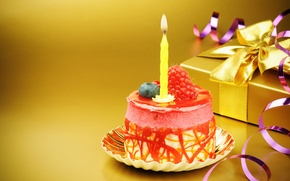 Картинка подарок, свеча, торт, бант, happy birthday, с днем рождения