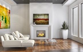 Картинка мебель, интерьер, камин, гостиная