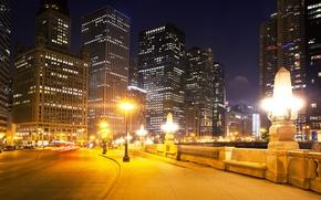 Картинка дорога, ночь, огни, улица, дома, небоскребы, Чикаго, фонари, США, тротуар