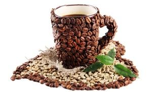 Картинка сердце, кофе, зерна, ручка, чашка, белый фон