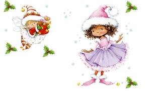 Картинка праздник, Новый Год, арт, девочка, снежинка, детская, костюмчик, феечка. подарок