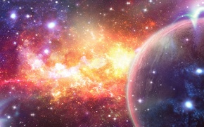 Картинка космос, звезды, туманность, абстракция, планета, арт
