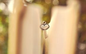 Картинка макро, сердце, размытость, ключ, книга, сердечко, страницы, боке, ключик