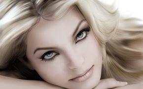 Картинка портрет, вектор, блондинка