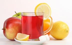 Картинка лимон, чай, яблоко, чашка, сахар, фрукты
